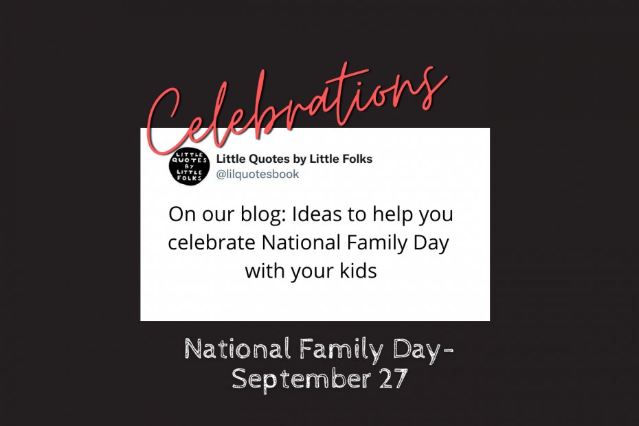 ideas for national family day on a white rectangle and a black field with celebrations in red